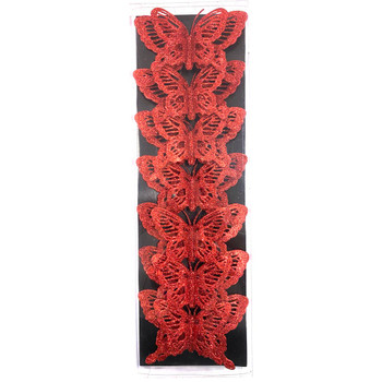 "5.5"" Large Red Double Level Glittered Butterflies - 7 Pieces"