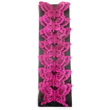 "5.5"" Large Fuchsia Double Level Glittered Butterflies - 7 Pieces"