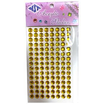 Gold 8mm Round Gemstone Stickers - 120 Pieces