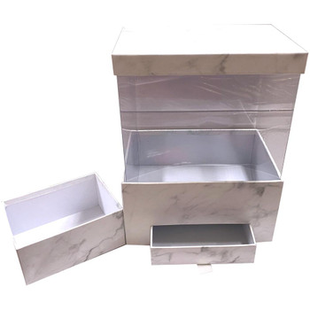 """12"""" Marbled Floral Box with Drawer and Insert - White"""