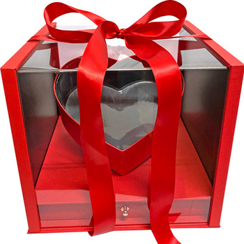 """10.5"""" Luxury Heart Display Box with Drawer - Textured Red"""