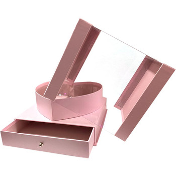 """9.5"""" Heart Display Box with Drawer - Pink"""
