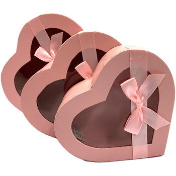 "10"" Pink Floral Heart Box with Window - Set of 3"