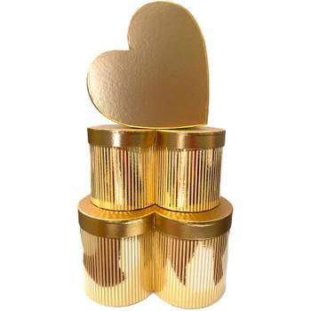 Metallic Deep Gold Heart Floral Box Set of 3