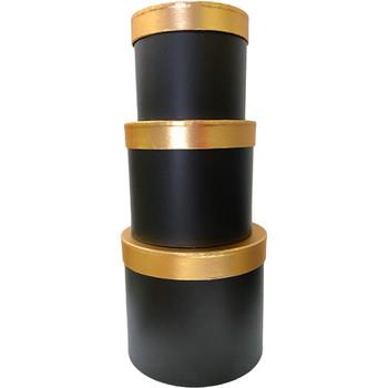 Gold Lid Floral Box - Black - Set of 3