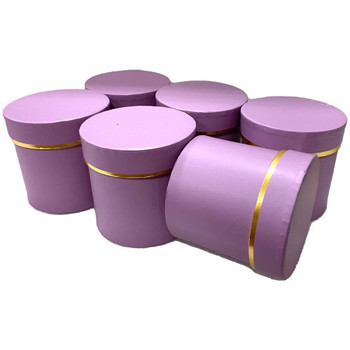 "4"" Single Rose Round Floral  Box - 6 Pieces - Lavender"
