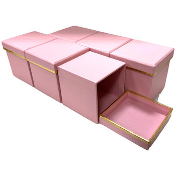 """3"""" Single Rose Square Floral  Box - 6 Pieces - Pink"""