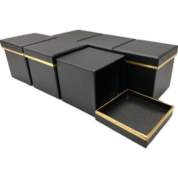 "3"" Single Rose Square Floral  Box - 6 Pieces - Black"
