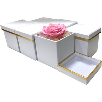 "3"" Single Rose Square Floral  Box - 6 Pieces - White"