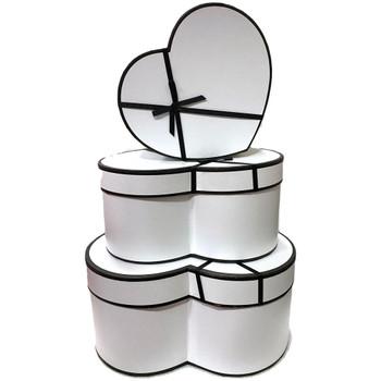 """12"""" Designer Floral Heart Box - Set of 3 - White"""