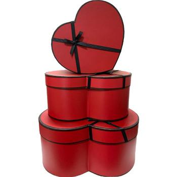 """12"""" Designer Floral Heart Box - Set of 3 - Red"""