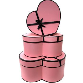 """12"""" Designer Floral Heart Box - Set of 3 - Pink"""