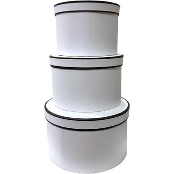 "10"" Designer Floral Round Box - Set of 3 - White"