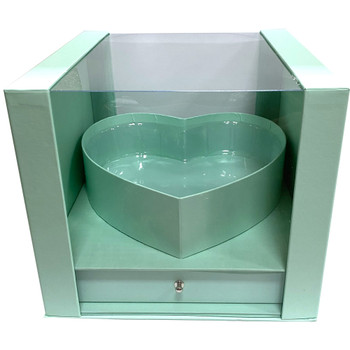 """9.5"""" Heart Display Box with Drawer - Teal"""