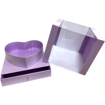 """9.5"""" Heart Display Box with Drawer - Lavender"""