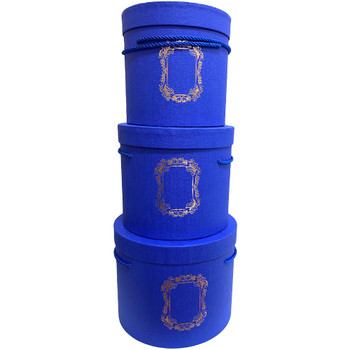 Tall Blue Cylinder Floral Hat Box Set of 3