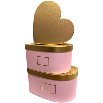 "12"" Gold Lid Floral Heart - Pink"
