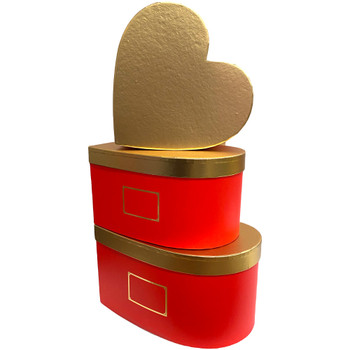"""12"""" Gold Lid Floral Heart - Red"""