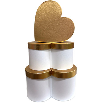 """12"""" Gold Lid Floral Heart - White"""