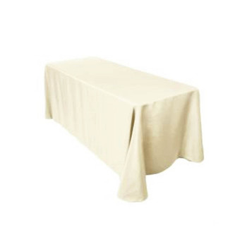 "90"" x 132"" Ivory Rectangular Polyester Table Cover"