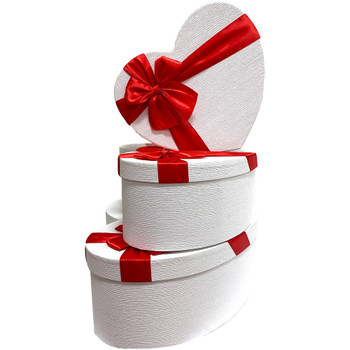 """12"""" White & Red Floral Heart Gift Box with Ribbon - Set of 3"""