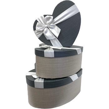 """12"""" Gray Floral Heart Gift Box with Ribbon - Set of 3"""