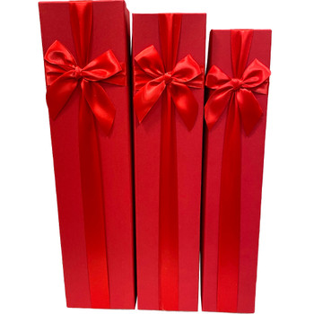 """18.75"""" Red Tall Decorative Floral Box - Set of 3"""
