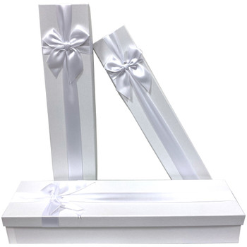 """18.75"""" White Tall Decorative Floral Box - Set of 3"""