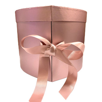 """10"""" Rose Gold Double Level Heart Floral  Box"""