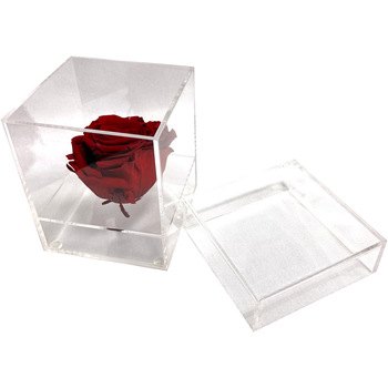 "4"""" Clear Acrylic Single Rose Flower Box"