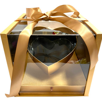 """10.5"""" Luxury Heart Display Box with Drawer - Gold"""