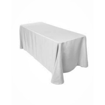 "90"" x 132"" White Rectangular Polyester Table Cover"