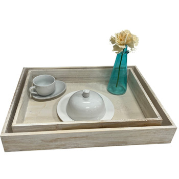 """16.75"""" Surprise Breakfast Wooden Tray - Set of 2 - White Wash"""