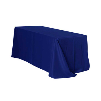 "90"" x 156"" Nay Blue Rectangular Polyester Table Cover"