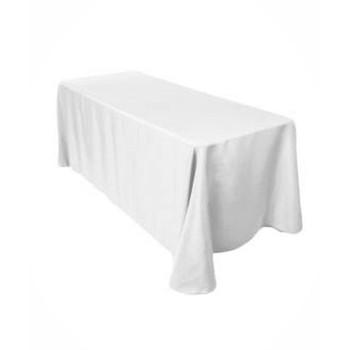 "90"" x 156"" White Rectangular Polyester Table Cover"