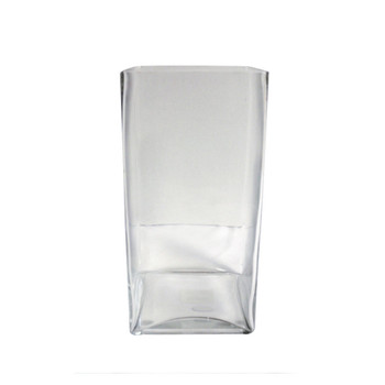 "12""H Glass Square Block Vase"
