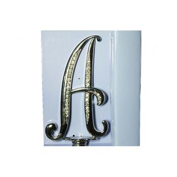 "4"" -A- Silver  Rhinestone Cake Topper"
