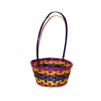 "9"" Round Bamboo Basket With Handle"