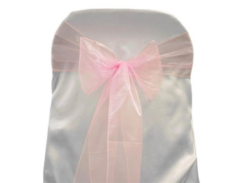 Pink Organza Chair Bow 6 Pcs