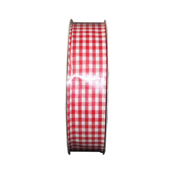 "1.5"" White & Red Checkered Ribbon"