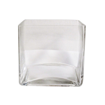 "5"" Clear Glass Cube Vase"