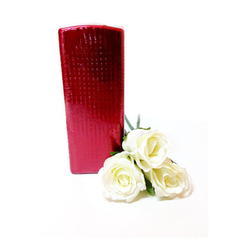 "2.75""X7"" Metallic Red Sq Pillar Candle"
