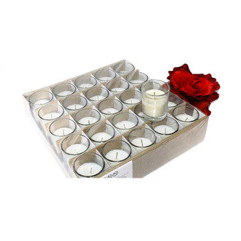 White Votive Tray With Candle