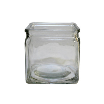 "4""H Clear Glass Cube Vase With Lip"