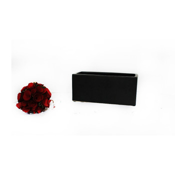 "8"" x 4""H Black Rectangular Ceramic Vase"