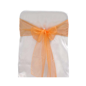 Orange Organza Chair Bow 6 Pcs