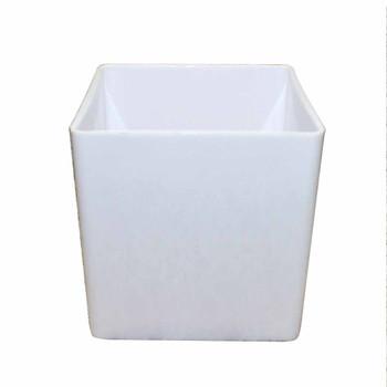 """6"""" White Acrylic Square Vase"""