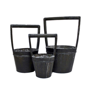 Black Wood Bucket Basket Set of 3