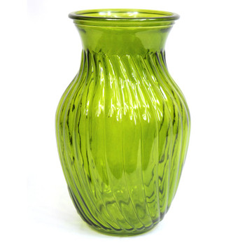 "8""H Moss Green Swirl Glass  Vase"