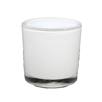 "5""H White Glass Cylinder Vase"